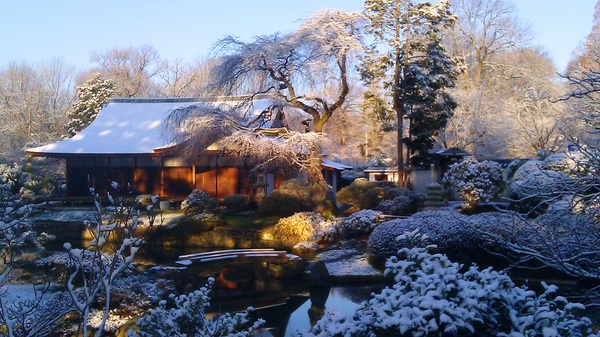 Snowy scene at Shofu-So Japanese Garden, Pennsylvania, USA