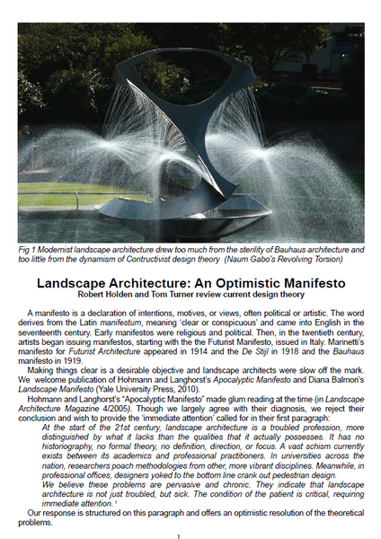 The use of design theories and manifestos by landscape architects in the  modern  postmodern and post postmodern periods is reviewed in the light of  Hohmann. eBooks