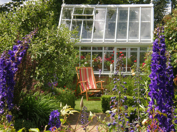 Cottage Garden with Delphiniums, Barnsdale Gardens
