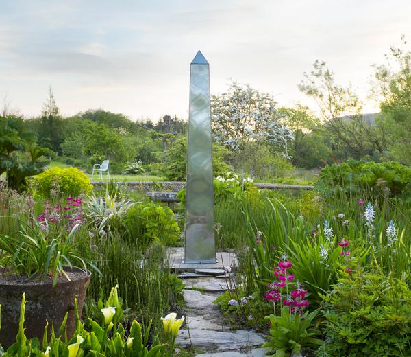 Obelisk in the Bog Garden, Dyffryn Fernant Garden
