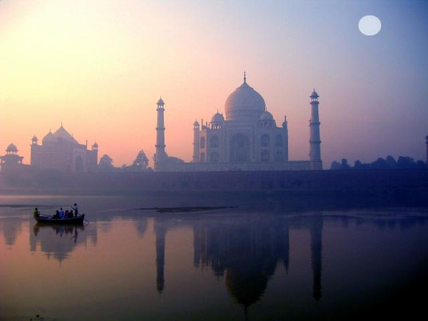 Taj Mahal reflection in River Yamuna