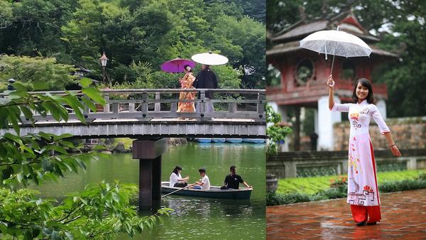 garden wedding rain umbrella