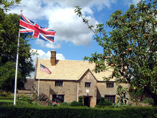Flags at Sulgrave Manor Garden