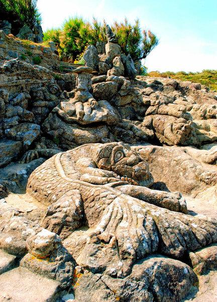 Rochers sculptés de Rothéneuf, France